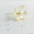 Flower hairpin, large ivory and gold bridal flower hairpin