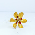 Gold flower hairpin, large bridal flower hairpin, gold and red