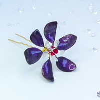 Flower hairpin, large bridal flower hairpin, purple and fuchsia