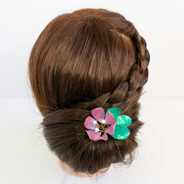 Flower hair stick, large iridescent pink flower, green leaves, flower hairpin