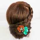 Flower hair stick, copper flower and green leaves, large flower hairpin
