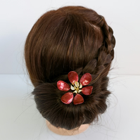 Red flower hair stick, handmade flower, bridal headpiece, flower hairpin