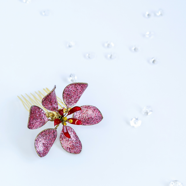 Flower hair comb, large glitter red bridal flower hairpin