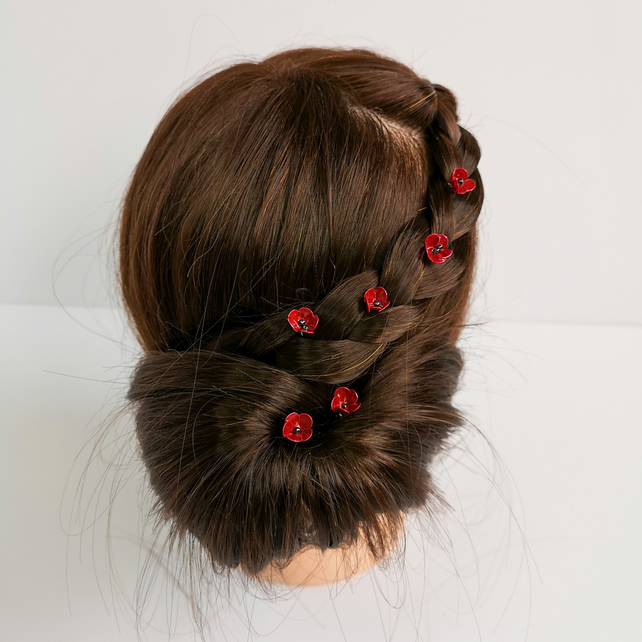 Poppy hairpins, red flower hairpins, tiny poppy flowers x6