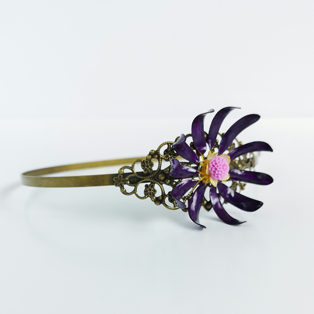 Purple flower head band, handmade flower, hair accessory