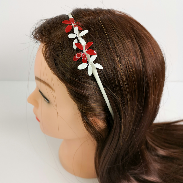 White and red flower head band, handmade flower tiara, hair accessory