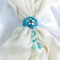 Blue scarf ring with ivory flower, scarf jewel, blue and ivory wedding accessory