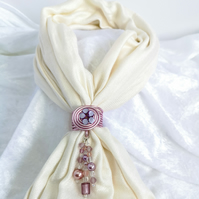 Pink scarf ring with lilac flower, scarf jewel,glass beads, wedding accessory