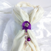 Purple scarf ring with metallic  lilac flower, scarf jewel,glass beads pendant