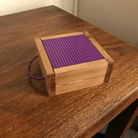 Rustic Purple Wood Lego Travel Storage Box With Paracord Handle - 'Barneys' Box'