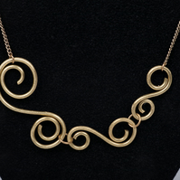 Brass Swirls Necklace