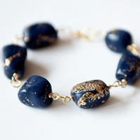 Blue and Gold Nuggets Bracelet