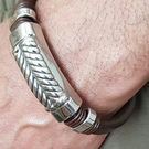 Mens hand made leather and stainless steel brown bracelet