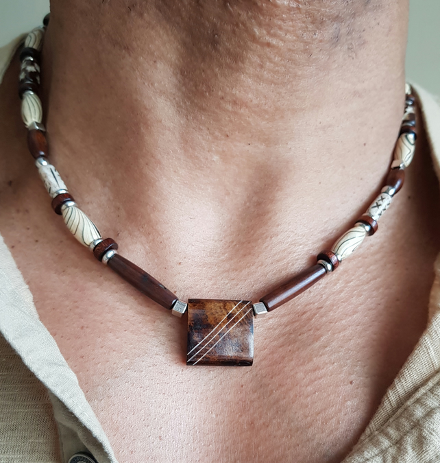 Mens hand made tribal necklace,leather