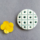 Ceramic Pottery Stoneware Hand Made Button 'Dots n Squares'