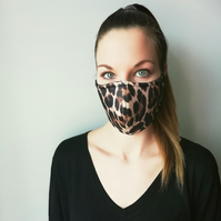 Handmade 3 Layer Face Mask LEOPARD pattern with inside layer, washable