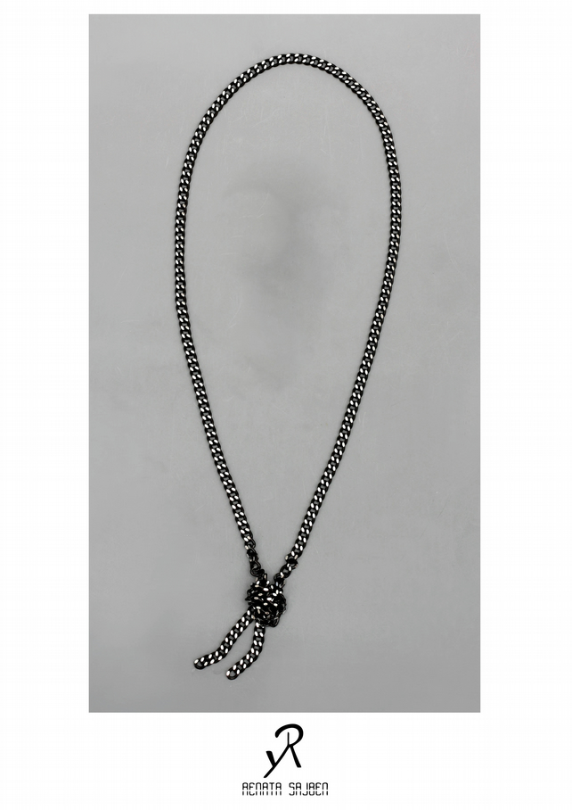 Black and Silver Chain thicker over-sized Necklace with knotted edge