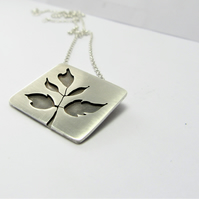 Elder Leaf Pendant - handcrafted recycled sterling silver pendant