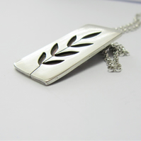 Ash Leaf Pendant - handmade recycled sterling silver woodland pendant