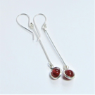 Carnelian Earrings - silver wire wrap earrings - drop earrings