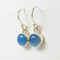 Blue Onyx Earrings - dangle earrings made with recycled sterling silver