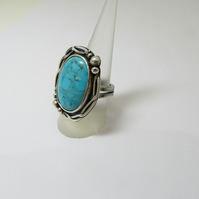 Turquoise statement ring - sterling silver cocktail ring - stone ring
