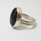 Amethyst ring - semi-precious stone set in recycled sterling silver