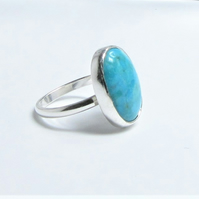 Turquoise ring - recycled sterling silver - December birthstone - stone ring