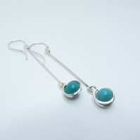 Long Drop Earrings -turquoise silver dangle earrings- December birthstone