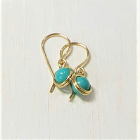 Short drop earrings - turquoise gold wrap earrings - December birthstone