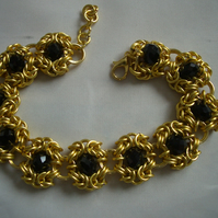 Byzantine Romanov Chainmaille Bracelet with Black crystals