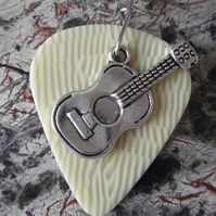 Acoustic Guitar Lovers Keyring, Real Guitar Pick & Tibetan Silver Guitar Charm