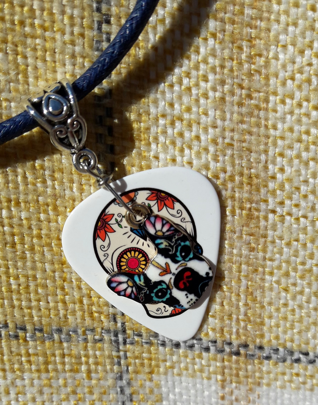Necklace, Day of the Dead Guitar Pick, French Bulldog Charm, Día de Los Muertos