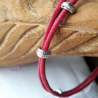 Anklet, Bracelet, Handmade, Pink Waxed Cotton Cord, Simple, Tibetan Silver Beads