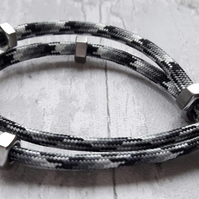 Paracord Hex Nut Bracelet, Urban Industrial Look, Simple, Stainless Steel, Black