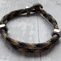 Paracord Hex Nut Bracelet, Urban Industrial Look, Simple, Stainless Steel, Camo