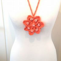 Crochet Seven Petal Flower Necklace