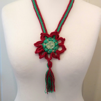 Beautiful Crochet Flower & Upcycled Leather Pendant