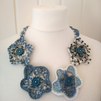 Blue Crochet Floral Necklace