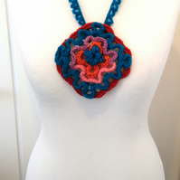 Unique Blue and Red Wavy-design Crochet Pendant
