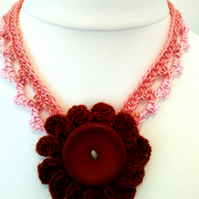 Deep Red Flower on Short Vintage Chain