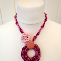 Deep Pink Crochet Neck Ring Pendant with Small Rosette