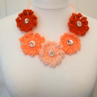 Stunning Coral Peach Crochet Petal Necklace