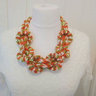 Funky I-Cord Rope Crochet Necklace