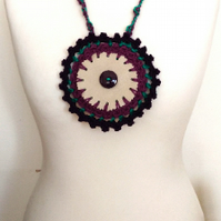 Premium Recycled Leather Pendant Crochet Necklace