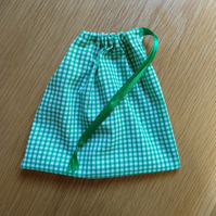 Green Gingham Drawstring Bag