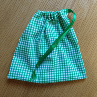 Green Gingham Drawstring Bag secured with green ribbon(free shipping)