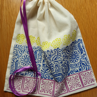 Hand Block Printed Drawstring Bag (free shipping)