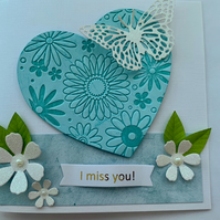 Personalised 3D butterfly heart card (teal blue)