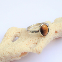 Sterling Silver Tigers Eye Cabochon Ring